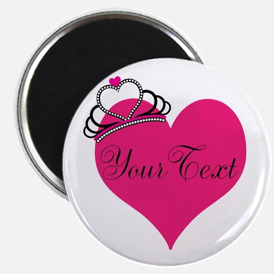 Personalizable Pink Heart with Crown Magnets