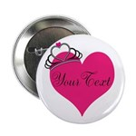 Personalizable Pink Heart with Crown 2.25
