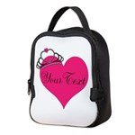 Personalizable Pink Heart with Crown Neoprene Lunc