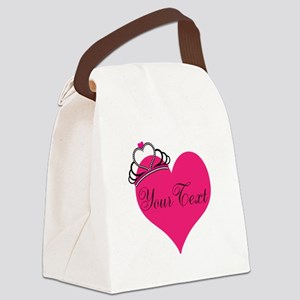 Personalizable Pink Heart with Crown Canvas Lunch