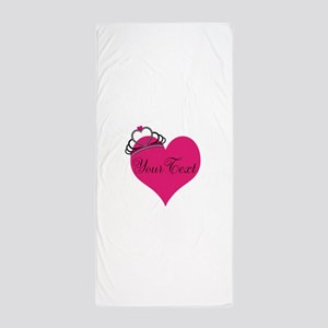Personalizable Pink Heart with Crown Beach Towel