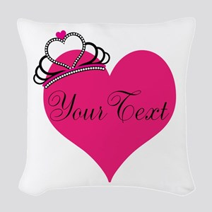 Personalizable Pink Heart with Crown Woven Throw P