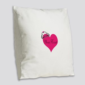Personalizable Pink Heart with Crown Burlap Throw