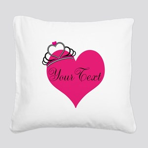 Personalizable Pink Heart with Crown Square Canvas