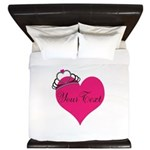Personalizable Pink Heart with Crown King Duvet