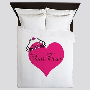 Personalizable Pink Heart with Crown Queen Duvet