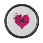 Personalizable Pink Heart with Crown Large Wall Cl