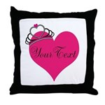 Personalizable Pink Heart with Crown Throw Pillow