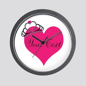 Personalizable Pink Heart with Crown Wall Clock