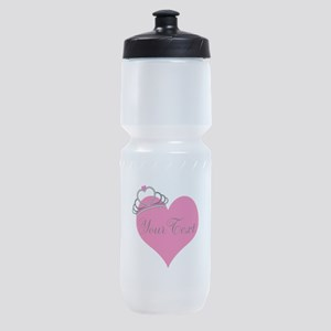 Personalizable Pink Heart with Crown Sports Bottle