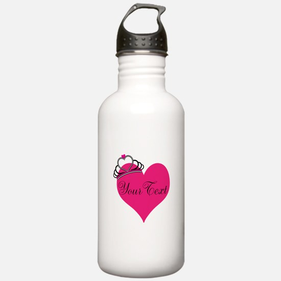 Personalizable Pink Heart with Crown Water Bottle