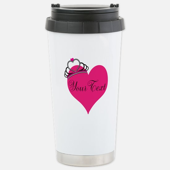 Personalizable Pink Heart with Crown Travel Mug