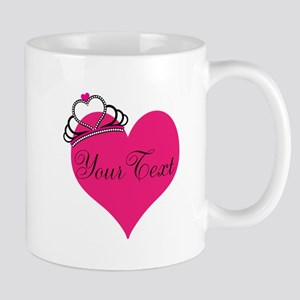 Personalizable Pink Heart with Crown Mugs