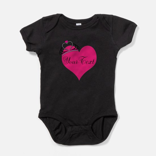 Personalizable Pink Heart with Crown Baby Bodysuit