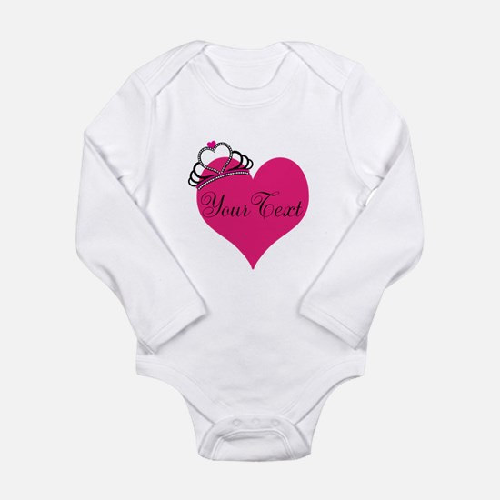 Personalizable Pink Heart with Crown Body Suit