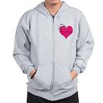 Personalizable Pink Heart with Crown Zip Hoodie
