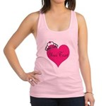 Personalizable Pink Heart with Crown Racerback Tan
