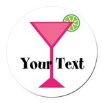 Personalizable Pink Cocktail Round Car Magnet