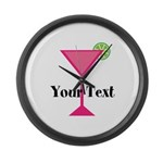 Personalizable Pink Cocktail Large Wall Clock