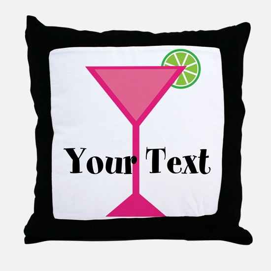 Personalizable Pink Cocktail Throw Pillow