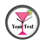 Personalizable Pink Cocktail Wall Clock