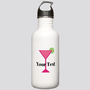 Personalizable Pink Cocktail Water Bottle