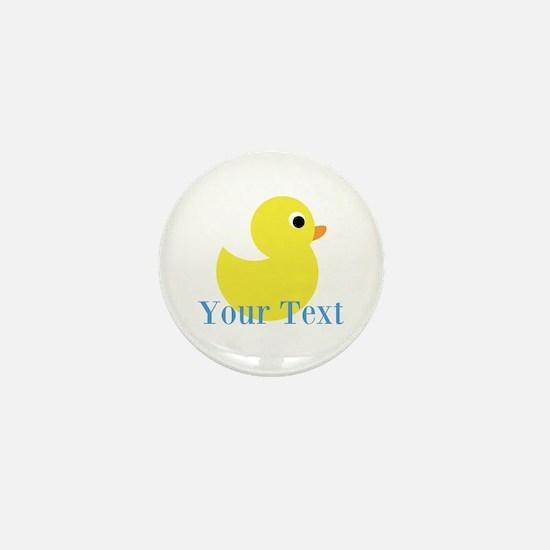 Personalizable Yellow Duck Blue Mini Button