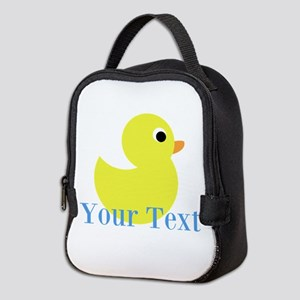 Personalizable Yellow Duck Blue Neoprene Lunch Bag