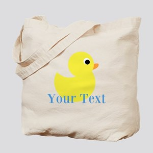 Personalizable Yellow Duck Blue Tote Bag