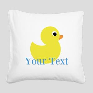 Personalizable Yellow Duck Blue Square Canvas Pill