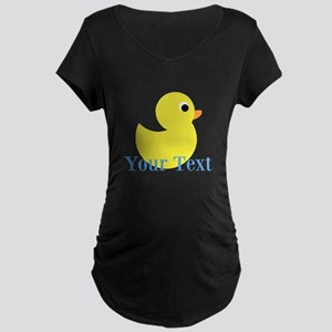 Personalizable Yellow Duck Blue Maternity T-Shirt