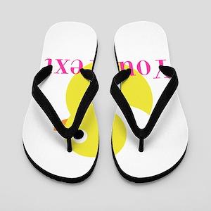 Personalizable Pink Yellow Duck Flip Flops
