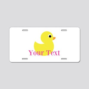 Personalizable Pink Yellow Duck Aluminum License P