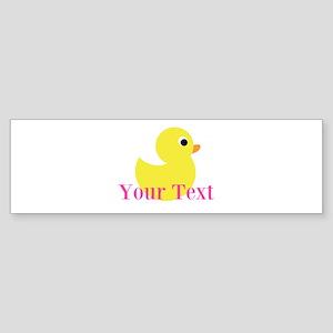 Personalizable Pink Yellow Duck Bumper Sticker