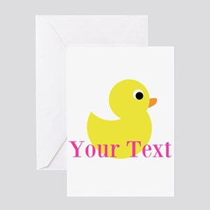 Personalizable Pink Yellow Duck Greeting Cards