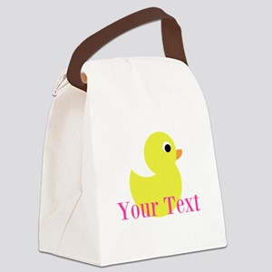 Personalizable Pink Yellow Duck Canvas Lunch Bag