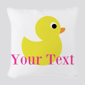 Personalizable Pink Yellow Duck Woven Throw Pillow