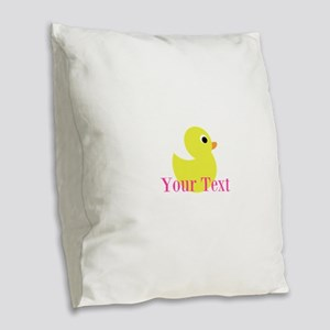 Personalizable Pink Yellow Duck Burlap Throw Pillo