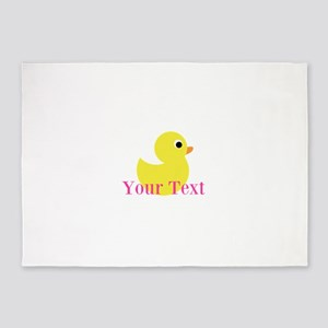 Personalizable Pink Yellow Duck 5'x7'Area Rug
