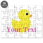 Personalizable Pink Yellow Duck Puzzle