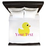 Personalizable Pink Yellow Duck King Duvet