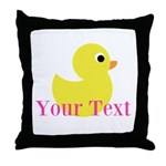 Personalizable Pink Yellow Duck Throw Pillow