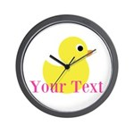 Personalizable Pink Yellow Duck Wall Clock