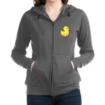 Personalizable Pink Yellow Duck Women's Zip Hoodie