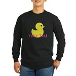 Personalizable Pink Yellow Duck Long Sleeve T-Shir