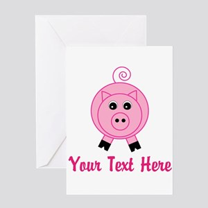 Personalizable Pink Pig Greeting Cards