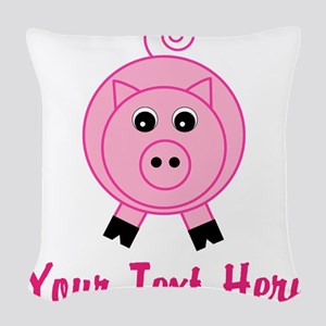 Personalizable Pink Pig Woven Throw Pillow
