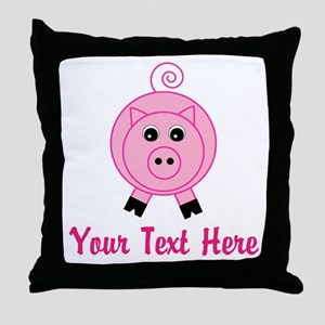 Personalizable Pink Pig Throw Pillow