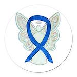 Blue Awareness Ribbon Angel Round Car Magnet