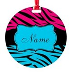 Personalizable Hot Pink and Teal Ornament